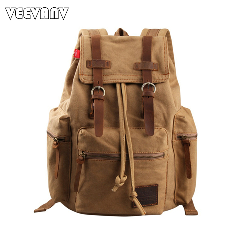 2017 Vintage Canvas Backpacks for Boys Teengers Fashion Women Backpacks Men&39;s School Laptop Shoulder BagsTravel Backpacks Female