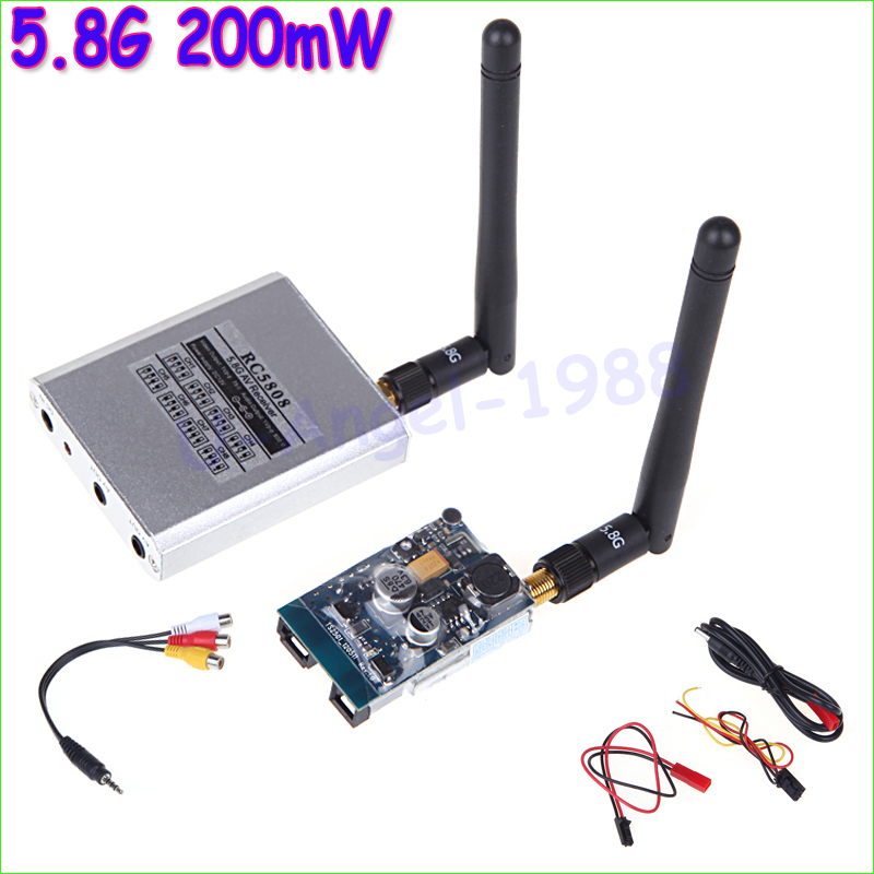 5.8G 200mW FPV Video Audio 8CH AV Transmitter TX 5.8GHz RX Receiver Set 2KM 2000M for RC Plane Quadcopter +